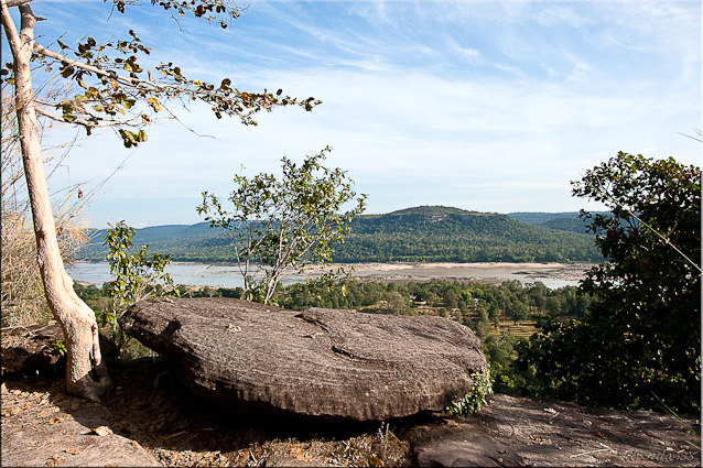 Landscape with large rock overlooking the Mekong and Laos, Pha Taem NP