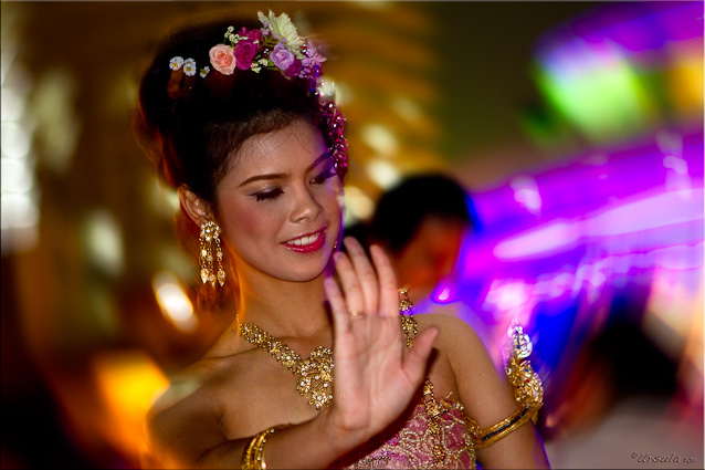 Portrait: Traditional Thai dancer at night