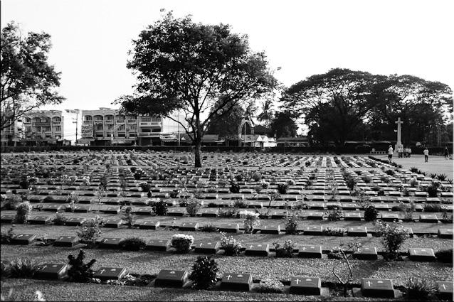 B&W: Headstones, Kanchanaburi Allied War Cemetery