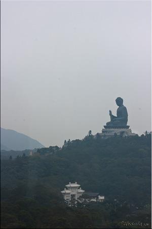 Profile: Giant seated buddha on a hill, Lantau