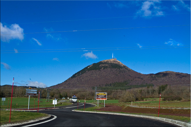 View of  Puy de Dôme volcano from the access road