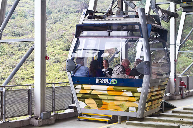 Cable car with passengers: Ngong Ping 360