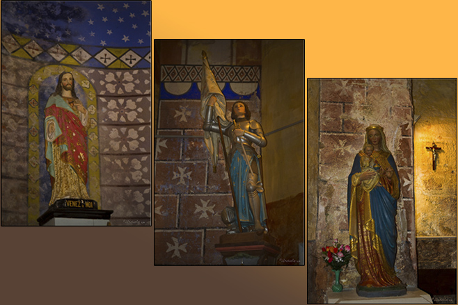 Composite: Coloured statues: 1) Jesus 2) Joan of Arc 3) Madonna and Child