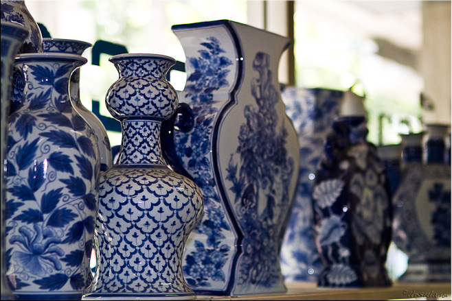 Modern  Blue and White pottery in different styles and pattens