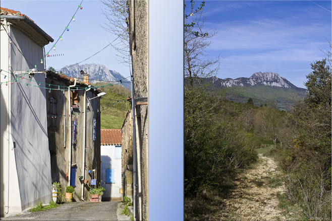 Composite: Cubières sur Cinoble  and the trail to Pic de Bugarach