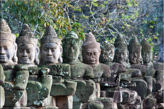 Row of stone khmer gods, South Gate, Angkor Thom