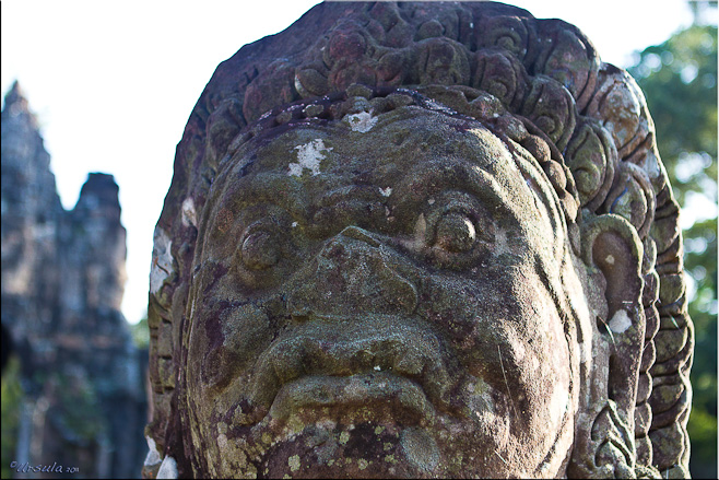 Close-up of a Khmer demon, South Gate, Angkor Thom