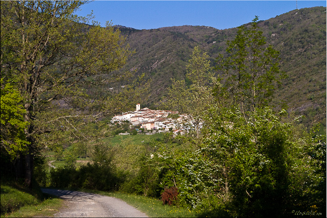 View of Ginoles, small Pyrenean village, set in the mountain foothills.