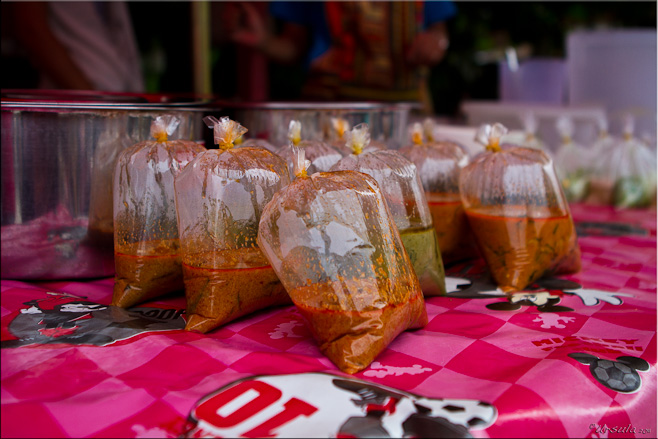 Thai food in plastic bags on a hot-ping plastic cloth