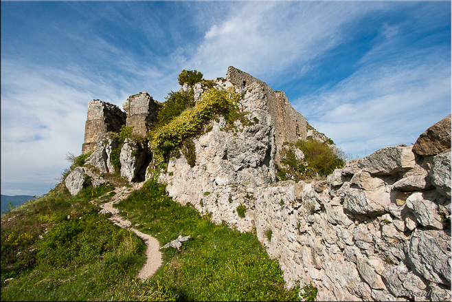 Rocky ruins of a French fortress on the top of a steep rock