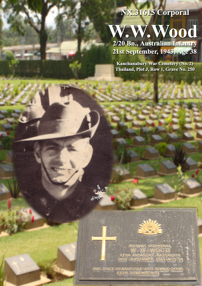 Composite: the Allied Cemetery at Kanchanaburi, headstone and photo of Australian Infantry Corporal, WWWood