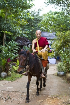 Monk in glasses with his alms bowl, riding a brown horse.