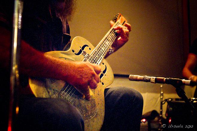 Steel guitar in low light,