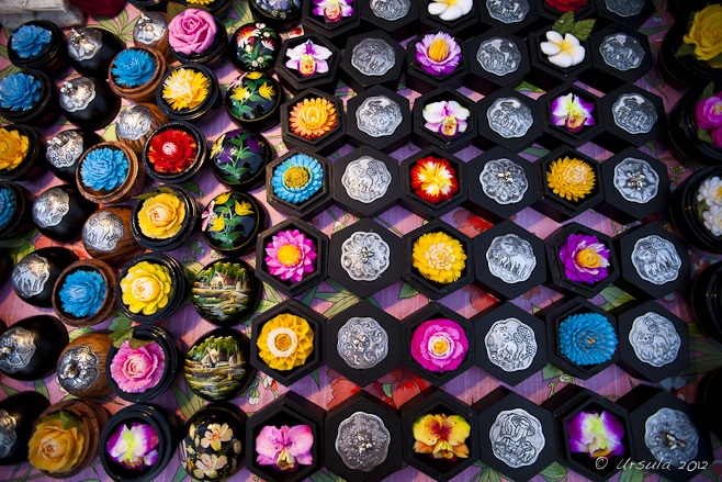 Colourful soaps carved into flower shapes.
