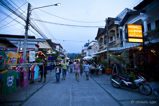 Twilight view of a Thai market street