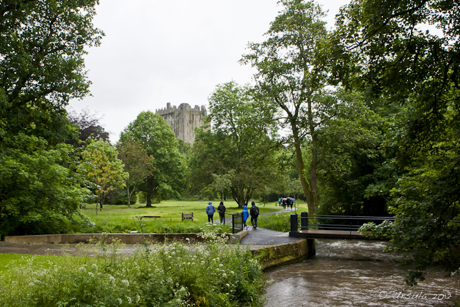Small bridge over a muddy river - green lawns, trees and Blarney Castle in the background.