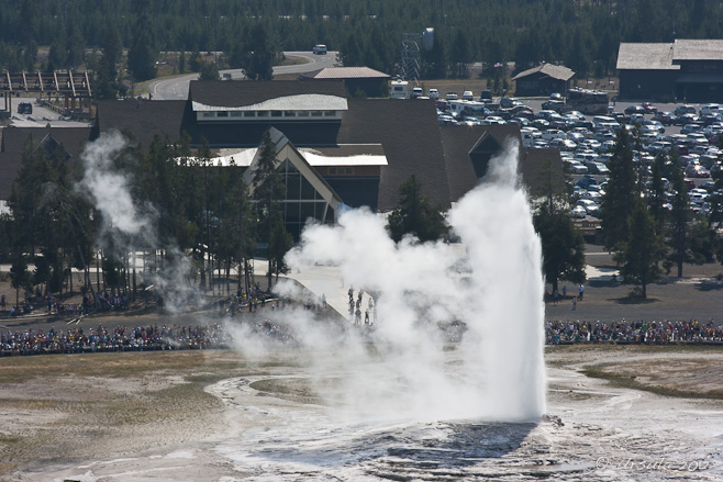 View from Observation Point over the Old Faithful Geyser and Visiter Center