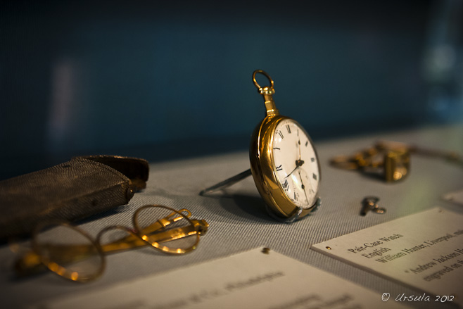 Gold pocket watch and gold-rimmed glasses. Andrew Jackson