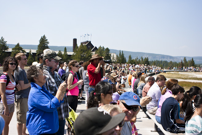 Crowd of tourists in a circle, Old Faithful