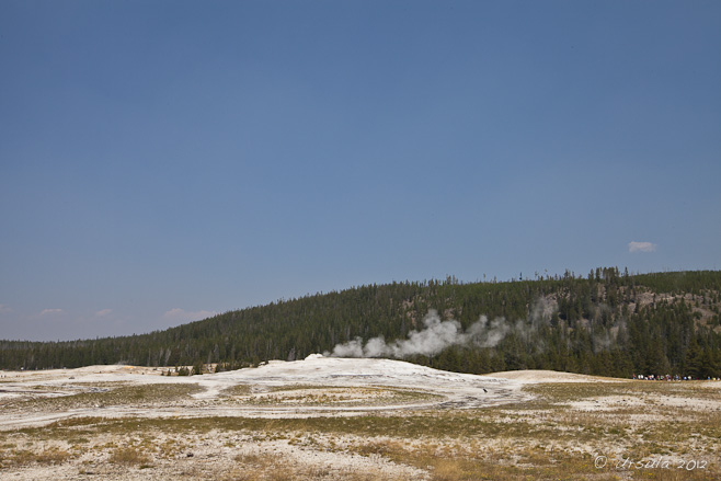 Limestone encrusted yellowed grass, steam risiing.