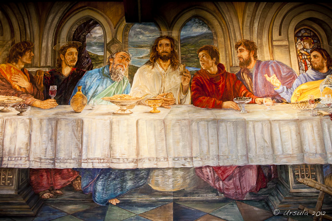 Details of a Last Supper fresco: Jesus has the Bread of Life in his hand. The Díseart, Dingle Co.Kerry