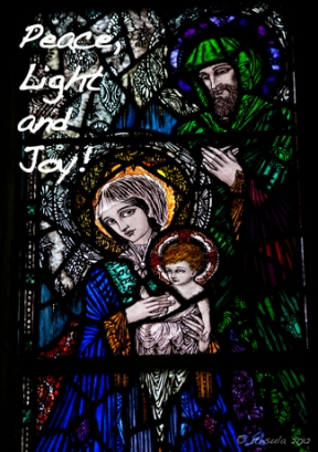 Harry Clarke stained glass of May Joseph and Jesus.