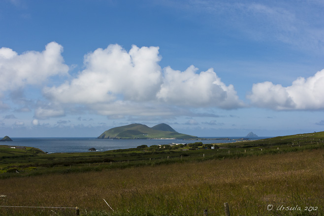 Landscape view: southwest from Dunquin over Great Blasket Island and the Atlantic.
