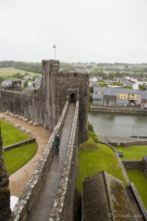 View along a wet Pembroke Castle walkway.