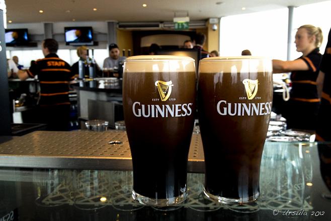 Two glasses of Guinness black ale, The Gravity Bar, Guinness Storehouse, Dublin