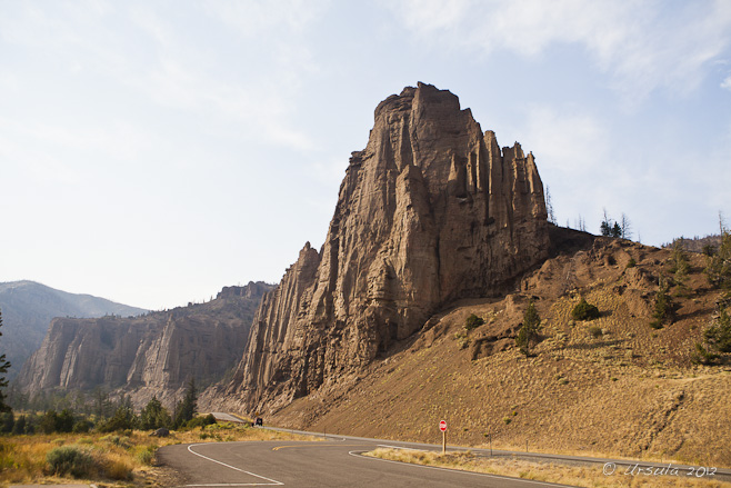 Landscape: large rocky outcrop on Highway 20 between Yellowstone National Park and Cody, WY