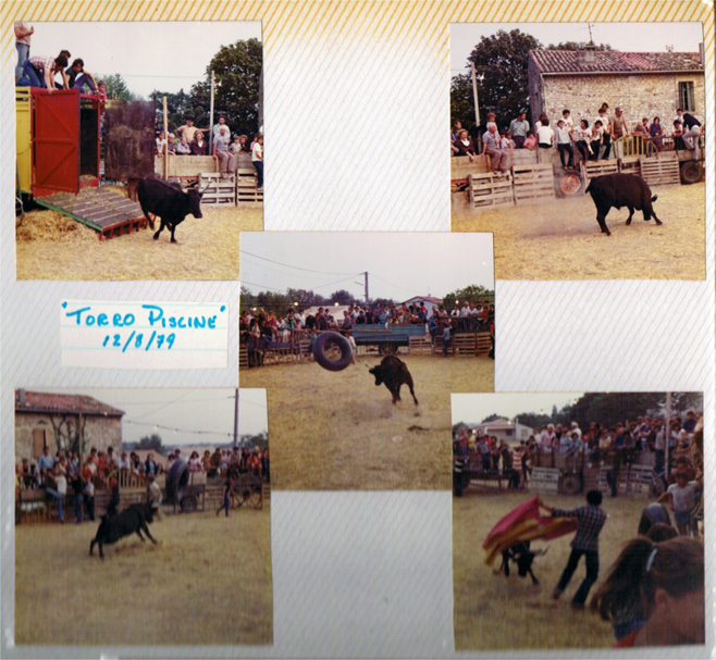 Composite: Five scanned photographs from a rustic bullfight, south of France, 1979