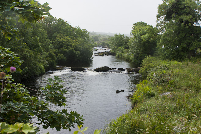 View over River Owenmore on a misty morning, Cloghane, Ireland
