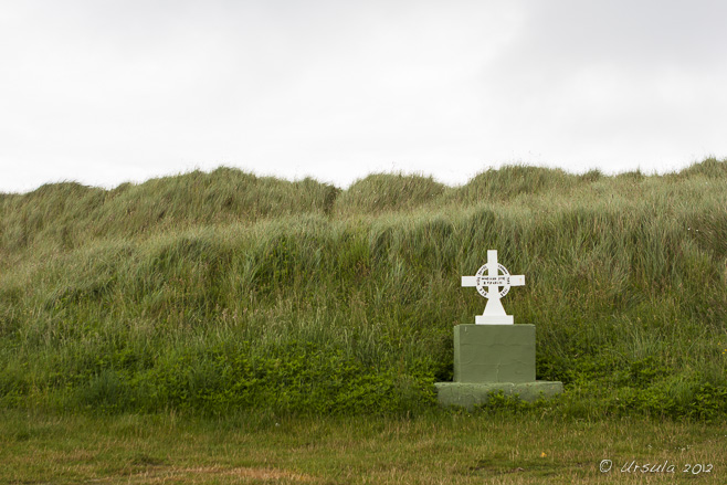 Memorial cross for James Cronin, Feb 2013, Castlegregory, Dingle Peninsula, Ireland