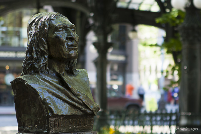 Bust of Chief Seattle in Pioneer Square, Seattle, WA, USA