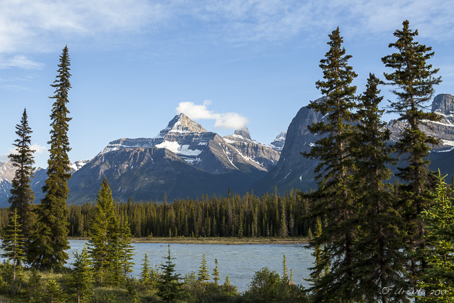 Landscape: view of snow-capped Rocky Mountains over the Athabasca River, Jasper NP, Alberta, Canada