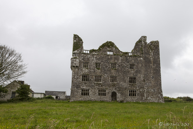 View of the Leamenagh Castle ruins under a grey sky. Co Clare, Ireland