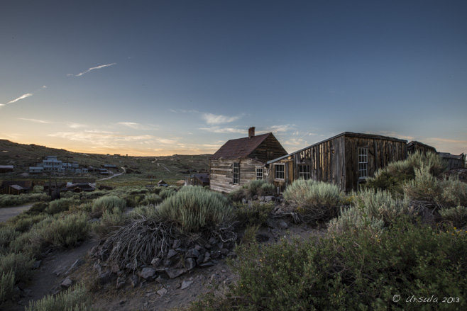 Rear of the Metzner House in pre-dawn light, Bodie SHP, CA USA