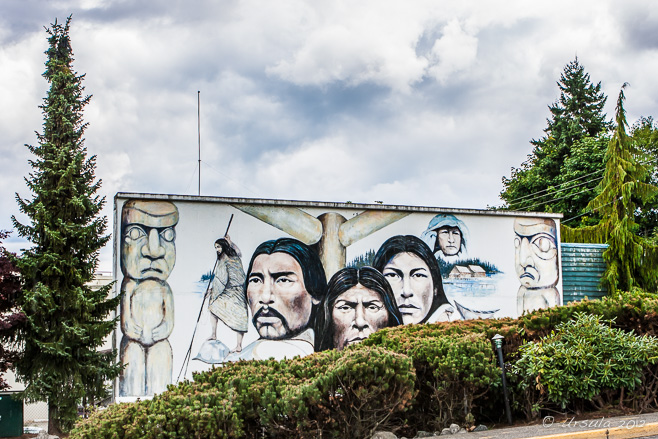 Outdoor mural featuring First Nation peoples, Chemainus, BC