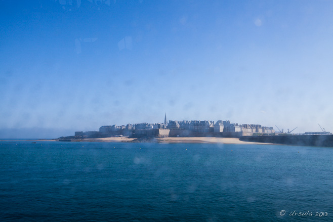View of Saint-Malo from a wet, smeary, Condor ferry window, Bretagne, France