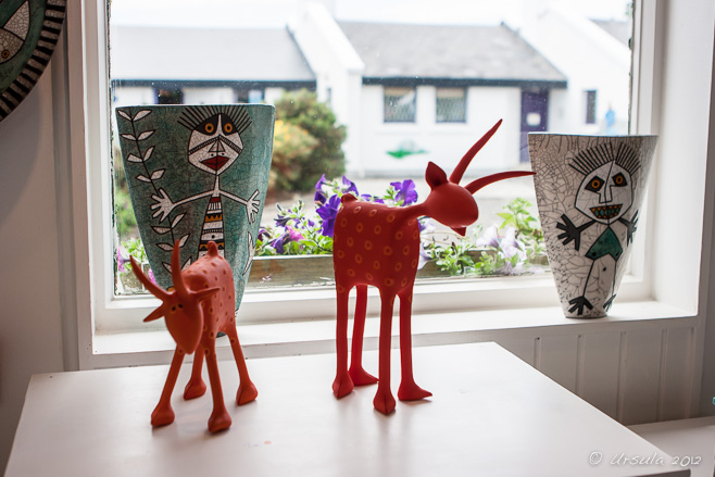 Quirky red pottery animals, Spiddal, Ireland