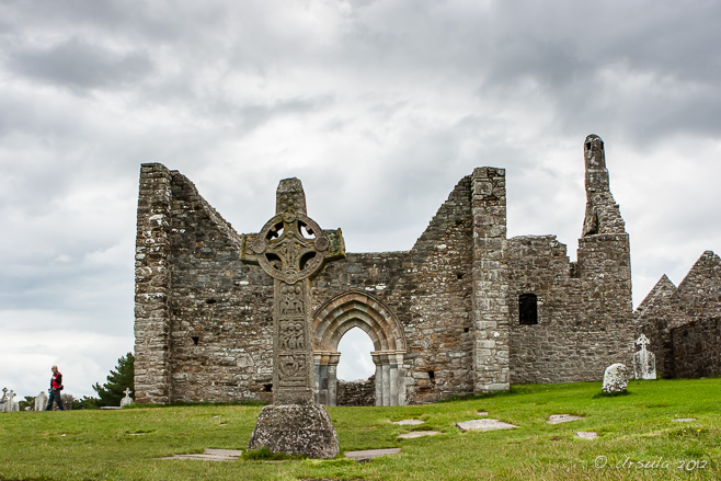 West face of the High Cross of the Scriptures and the Cathedral at Clonmacnoise, Co. Offaly