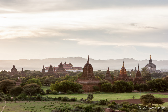 View from Shwesandaw, Myanmar-Burma west over Bagan temples at Twilight