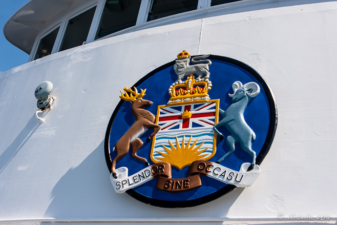 British Columbia provincial crest on the prow of a ferry.