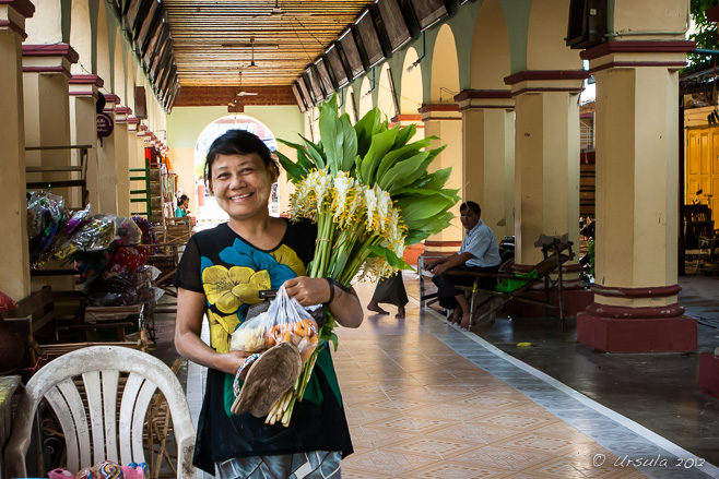 With her shoes in her hands, a young burmese woman walks through a Burmese Buddhist temple with a large bunch of weeping goldsmith flowers, Mandalay.