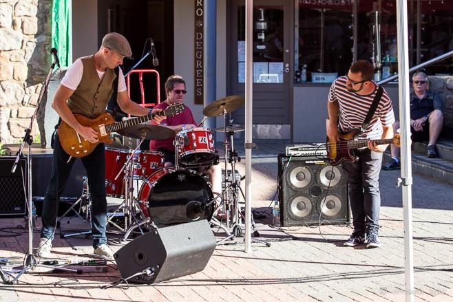 Jimi Hocking's Blues Machine playing in Thredbo Village Square sunshine, Australia