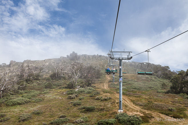 Kosciuszko Express Chair Riding up to the top of a misty Mt Crackenback (19 January 2013).