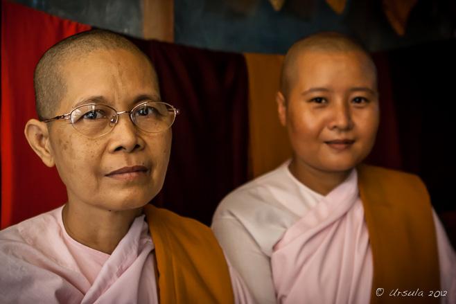 Portrait: Two Burmese Buddhist nuns, Mandalay