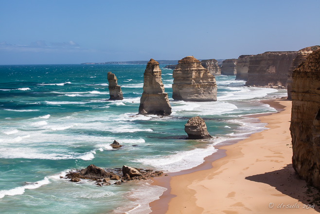View over the Twelve Apostles, crumbling limestone stacks in the waters off Victoria