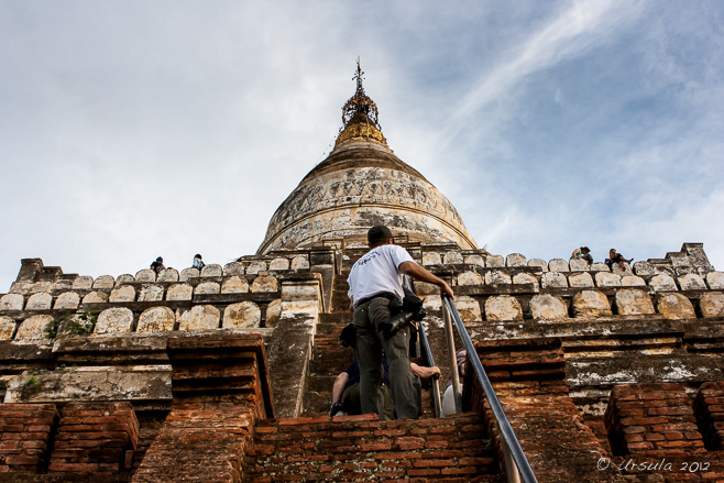 People climbing up the steep steps of Shwesandaw Pagoda, Bagan
