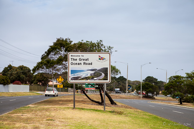 Sign for the Great Ocean Road, Torquay